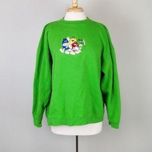 M&Ms Embroidered Sweatshirt Green Size Medium